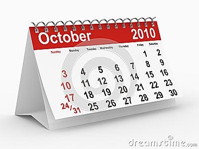 Calendario de 2010 años. Octubre