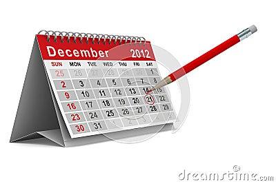 Calendario de 2012 años. Diciembre