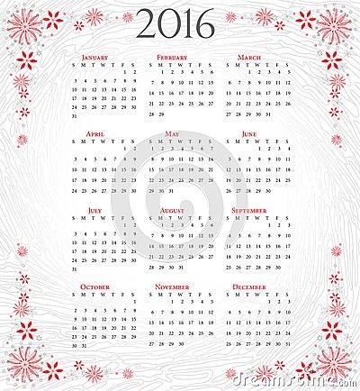 Calendario De 2016: Año Completo En Fondo Artístico Gris ...