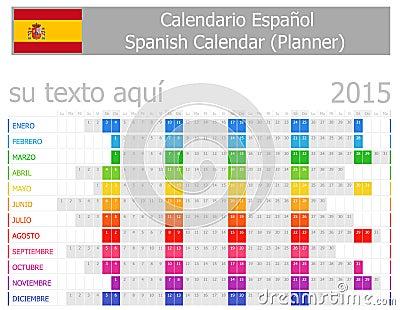 Calendario del pianificatore di 2015 spagnoli con i mesi for Pianificatore di blueprint gratuito
