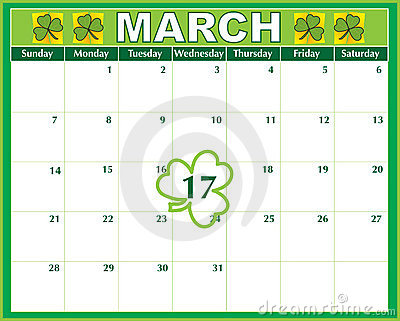Calendario di giorno della st Patricks
