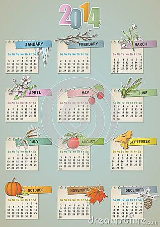 Calendario dibujado mano del vintage