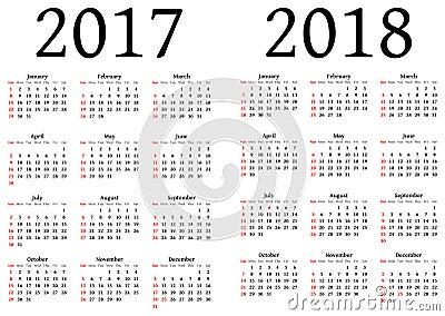 Calendario Para 2017 Y 2018 Ilustración del Vector - Imagen: 49501528