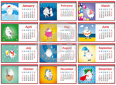 Calendars for each month in 2015 with active sheep