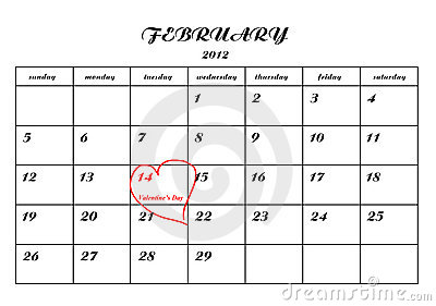 Calender page with a detail of valentine day