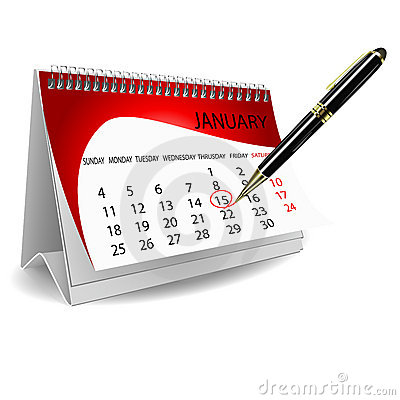 Free Calender With Pen Royalty Free Stock Photo - 17557125