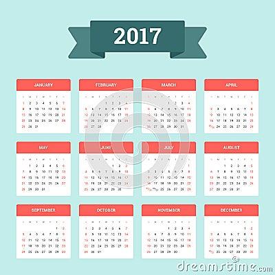 Calendrier 2017 La semaine commence à partir du dimanche Dirigez le ...