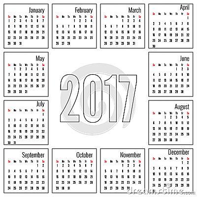 Calendrier mensuel pour 2017 Calibre simple de grille de mois Vecteur ...