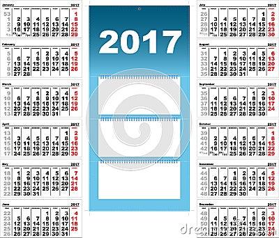 Calendrier mural trimestriel pour 2017 illustration de for Grand calendrier mural 2017