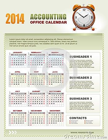 2014 calendriers de comptabilité avec la semaine numérotent le vecteur