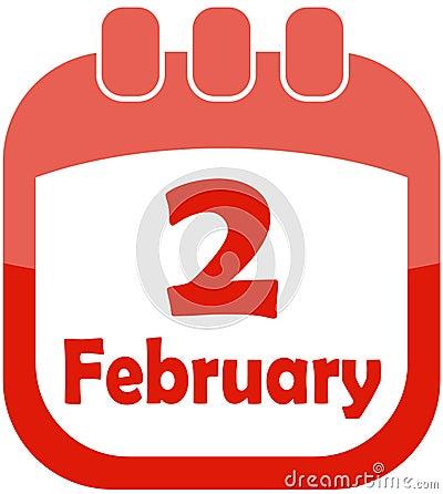 Calendário fevereiro de 2 do ícone