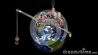 Calentamiento del planeta, cambio de clima, contaminación, ambiente, tierra, planeta stock de ilustración