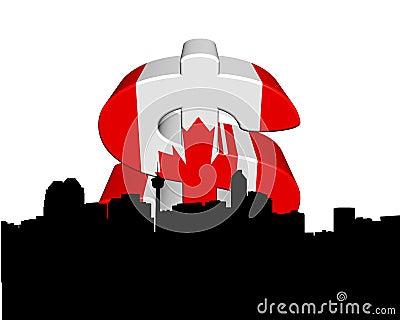 Calgary with Canadian flag dollar