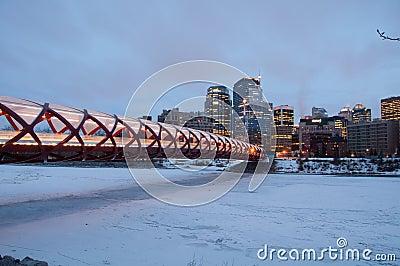 Calgary s Peace Bridge and skyline at night Editorial Stock Image