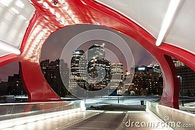 Calgary s Peace Bridge and skyline at night Editorial Photography