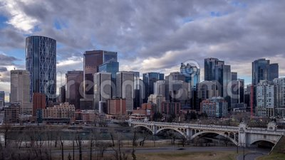 Calgary`s skyline. CALGARY, CANADA - NOV 6: Sweeping skyline view just after sunrise on November 6, 2016 in Calgary, Alberta. Calgary is home to many oil