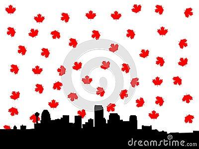 Calgary skyline in autumn illustration