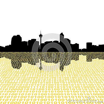Calgary skyline with binary