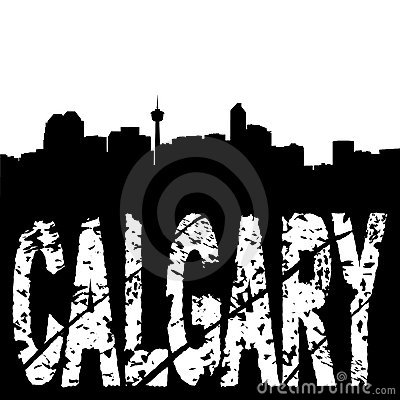 Calgary skyline grunge text