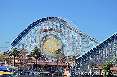 California Adventures Paradise Pier Roller Coaster Editorial Image