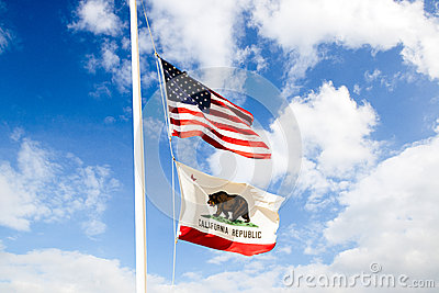 California flag and US flag