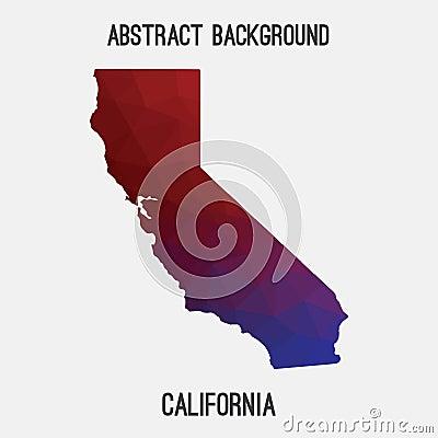 California map in geometric polygonal,mosaic style. Cartoon Illustration
