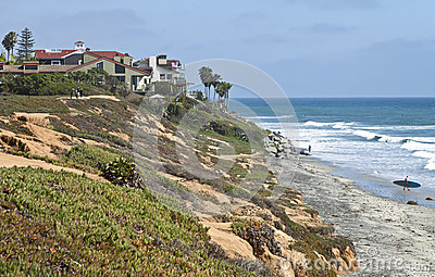 California shoreline and house.