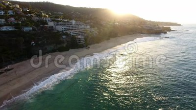 California, United States, Aerial view of beach houses along Pacific Coast in California. Real estate during sunset. California, United States. Aerial view of stock video