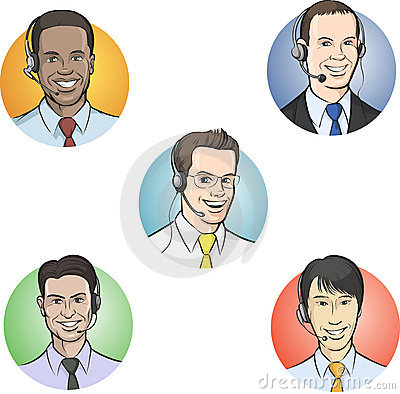 Call center employees with headsets