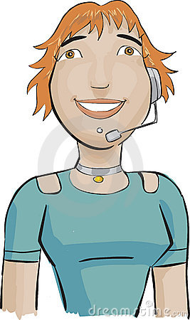 Call center girl with a green