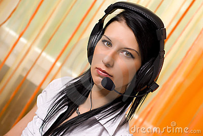Call center girl with headphones