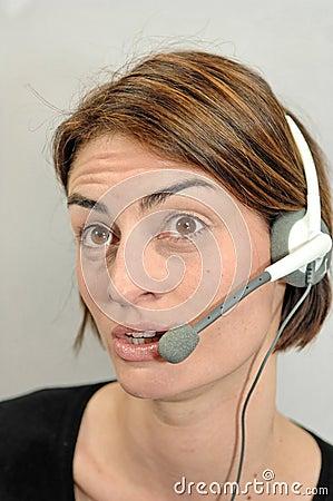 Call center girl looks amazed