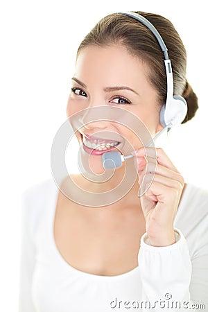 Free Call Center Headset Woman Customer Service Representative Stock Photos - 33607293