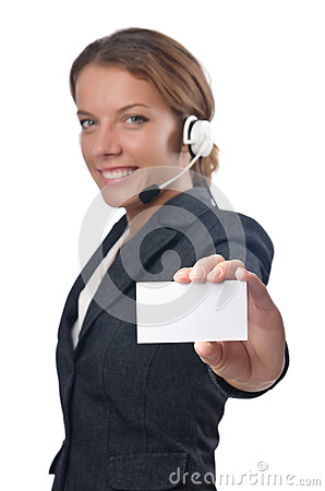 Call center operator with blank