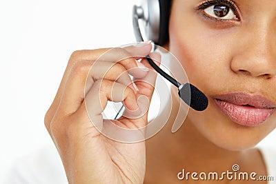 Call center operator close up