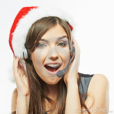 Free Call Center Operator. Woman White Background Portrait. Santa Ch Stock Images - 41722054