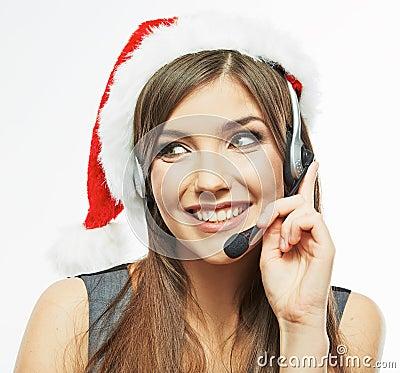 Free Call Center Operator. Woman White Background Portrait. Santa Ch Royalty Free Stock Photo - 41760555