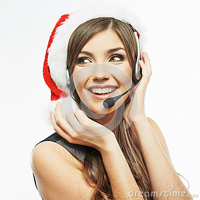 Free Call Center Operator. Woman White Background Portrait. Santa Ch Stock Photography - 41959932