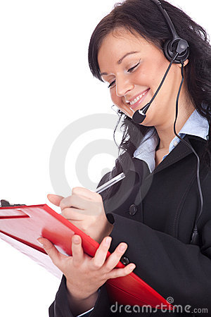 Call center young woman with headset and clipboard