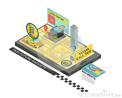Call Taxi By Gadget Isometric Design Vector Illustration