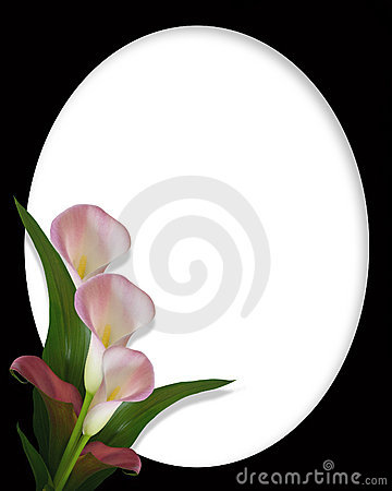 Calla Lilies Border on black oval frame