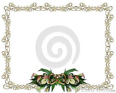 Calla Lilies floral Border Wedding invitation