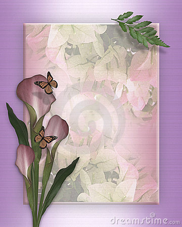 Calla lily and butterflies template