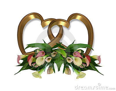 Calla Lily Gold Hearts graphic