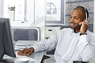 Callcenter agent with headset