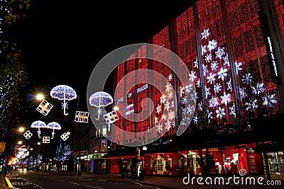 Calle de Londres Oxford en la Navidad Imagen editorial