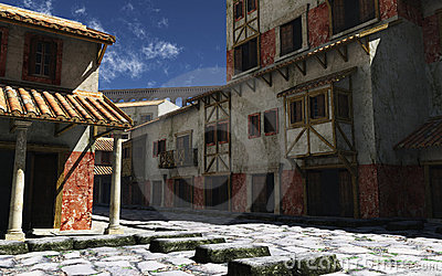Calle romana antigua con el acueducto