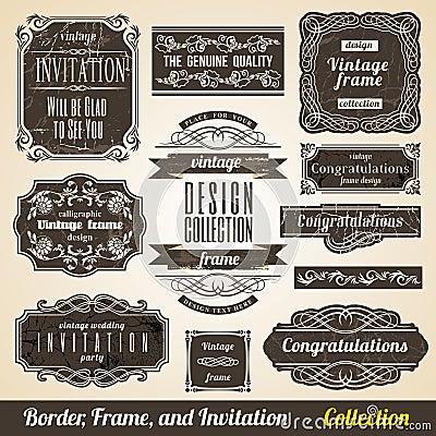 Calligraphic Border Frame and Invitation
