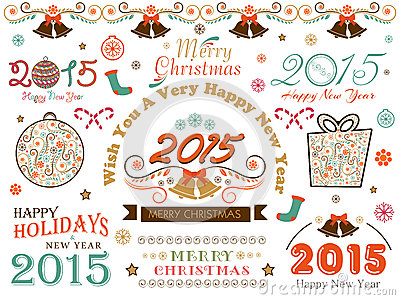 Calligraphic collection for Happy Holidays, New Year and Merry C