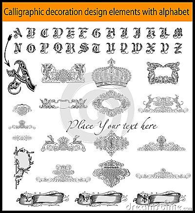 Calligraphic decoration design elements